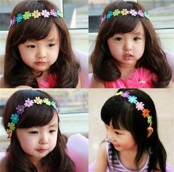 น่ารักเด็กเด็กผมวงH Eadwearสาวที่มีสีสันดอกทานตะวันดอกไม้ลูกไม้คาดศีรษะอุปกรณ์ผมf aixa de cabelo A277-1