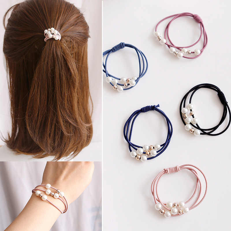 1PC Korea Style Simple Imitation Pearls Beads Hair Rope Hair Ring Multilayer Elastic Rubber Band For Girl Gift Hair Accessories