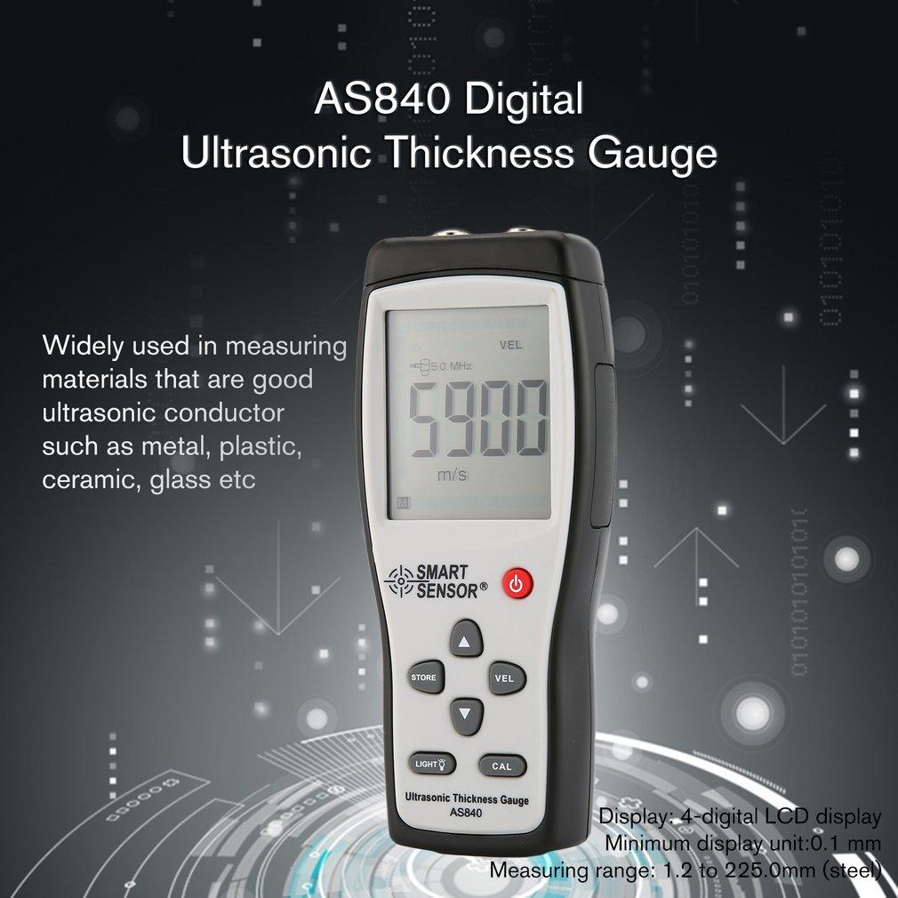 SMART Сенсор AS840 цифровой ультразвуковой Толщина датчик скорости звука метра металла Глубина Тестер Smart Сенсор с ЖК-дисплей дисплей продажа