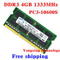 Garantía de por vida para samsung DDR3 4 GB 1333 MHz PC3 10600 S DDR 3 4 G portátil de memoria RAM del ordenador portátil Original auténtico 204PIN SODIMM
