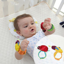 2 New Cute Cartoon Baby Wrist Strap Rattle Toy Musical Development Bell Kids Toy Simulator Hand Puppet(China)