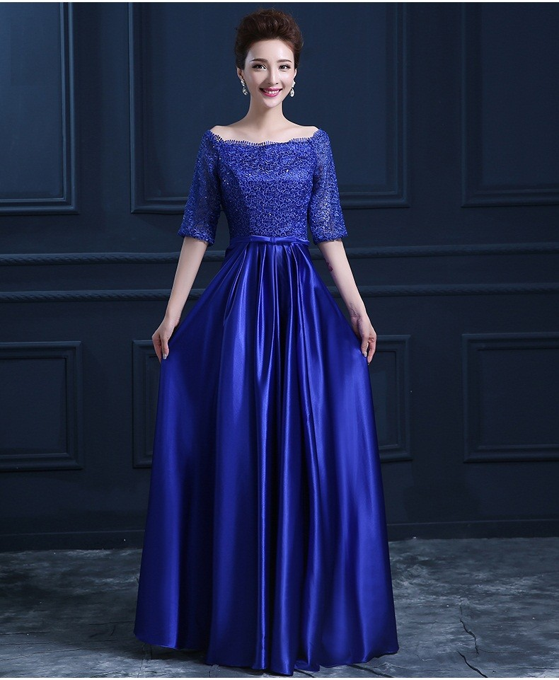 Lc434m 2016 long silver grey bridesmaid dresses with lace for Blue wedding dress with sleeves