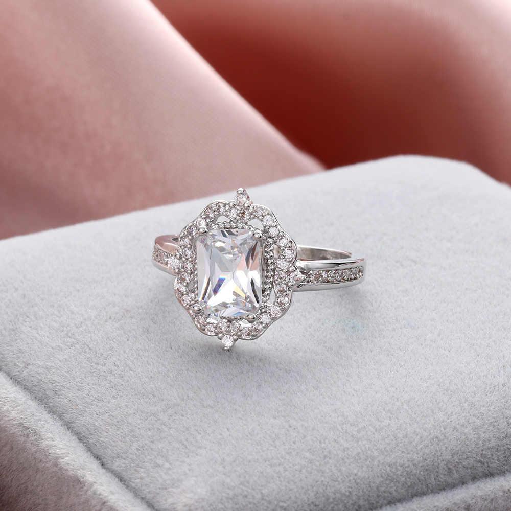 Silver Rose Gold สีงานแต่งงานแหวนสแควร์จำลอง Zircon เครื่องประดับ Bague Bijoux Femme แหวนหมั้นเครื่องประดับ