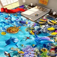 Free Shipping Latest Marine World Dolphin 3D Floor Wallpaper Kitchen Dining Room Non Slip Floor Mural