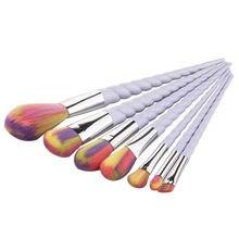 7pcs Rainbow Hair Unicorn Thread Makeup Brushes Set Pro Soft Cosmetic Foundation Brush Eyeshadow Make up Brush Set