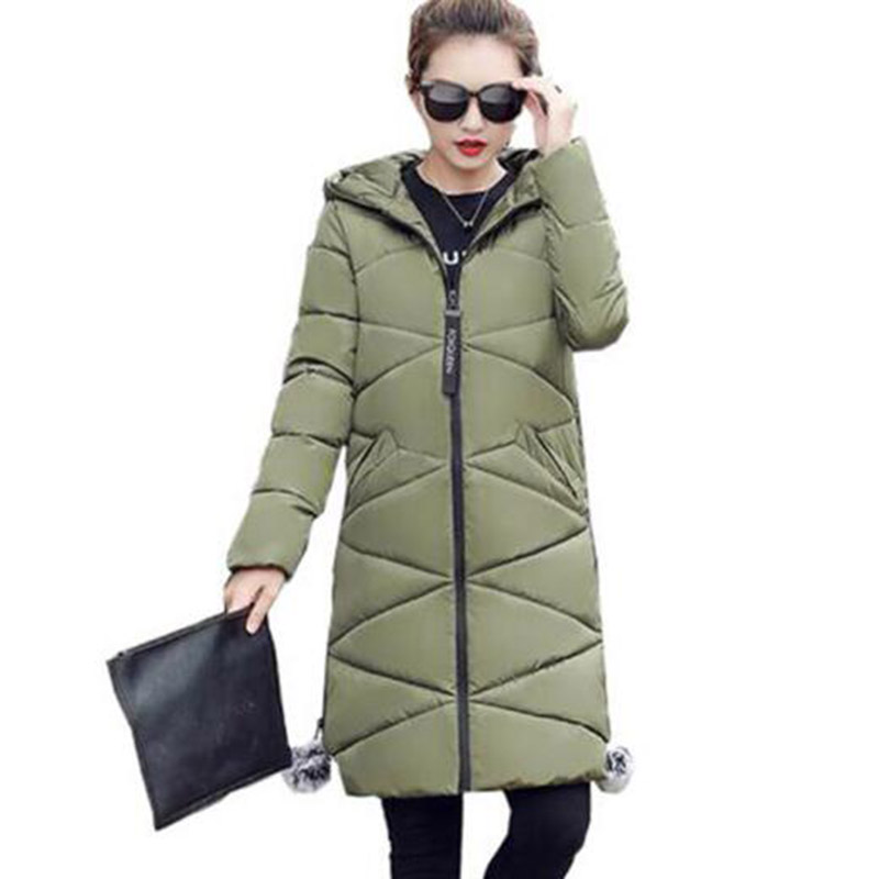 2017 Winter Long Hooded Women Cotton Coat Parkas Outerwear Thick Casual Wadded Plus Size Jacket Female Cotton Coats PW1011 db3814 dave bella autumn baby boys star printed t shirt kids navy tees bosy tops kids t shirts