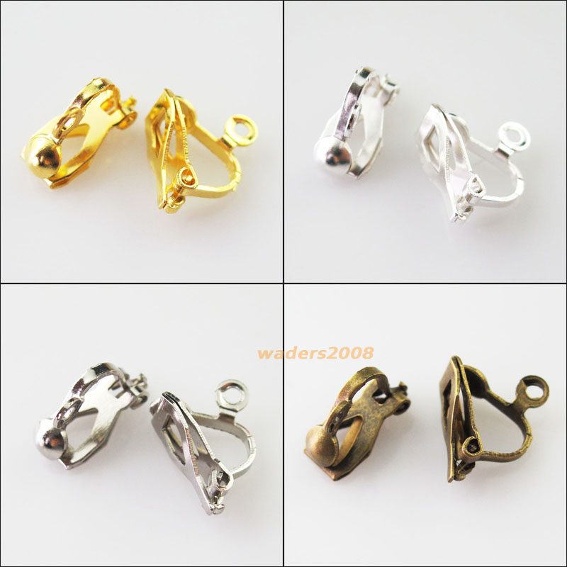 20Pcs Clip On Earring Earwire 10x13mm Gold Silver Dull Silver Bronze Plated