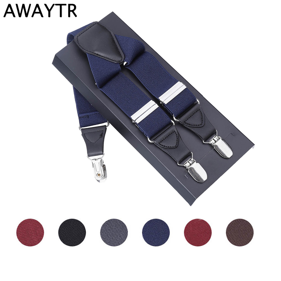 AWAYTR 3.5*120cm Fashion Suspenders Men Leather 3 Clips Brace Male Vintage Casual Wedding Party Trousers Strap Husband's Gifts