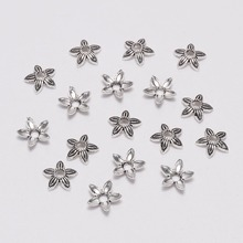 100pcs 8mm Antique Silver 5 petal Flower Bead End Caps Receptacle Flower Torus DIY Spaced Apart For Jewelry Making Accessories цена