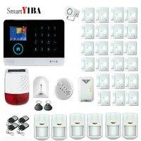 SmartYIBA 433 МГц беспроводной 3g WCDMA wifi умный дом охранной сигнализации системы приложение Управление солнечной энергии сирена газ Дым пожарный д