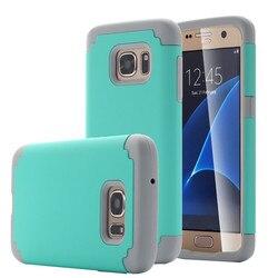 NOUVEAU Hybride Double Couche Choc Absorbant Impact Resist Cas Couverture pour Samsung Galaxy S7/S7 Bord Silicone + PC dur Mince Couverture de Téléphone