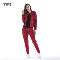2018 New Women Suit Two piece Red Cardigan Coat + Trousers Black 2pcs/set Fashion Harem Pants