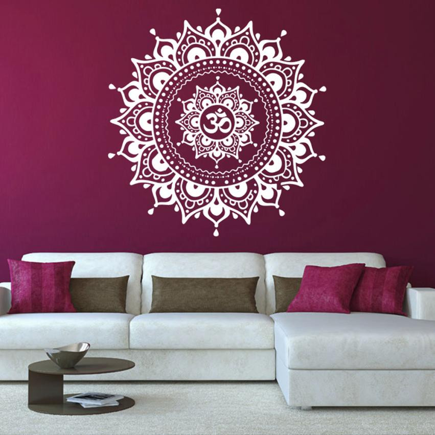2018 hot mandala flower indian bedroom living room wall - Removable wall stickers living room ...