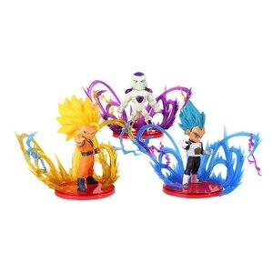 Image 4 - 9pcs/lot Dragon Ball Z Action Figures Son Goku Gohan Vegeta Zamasu Broly Super Saiyan Frieza Energy Effect Anime DBZ Model Toys