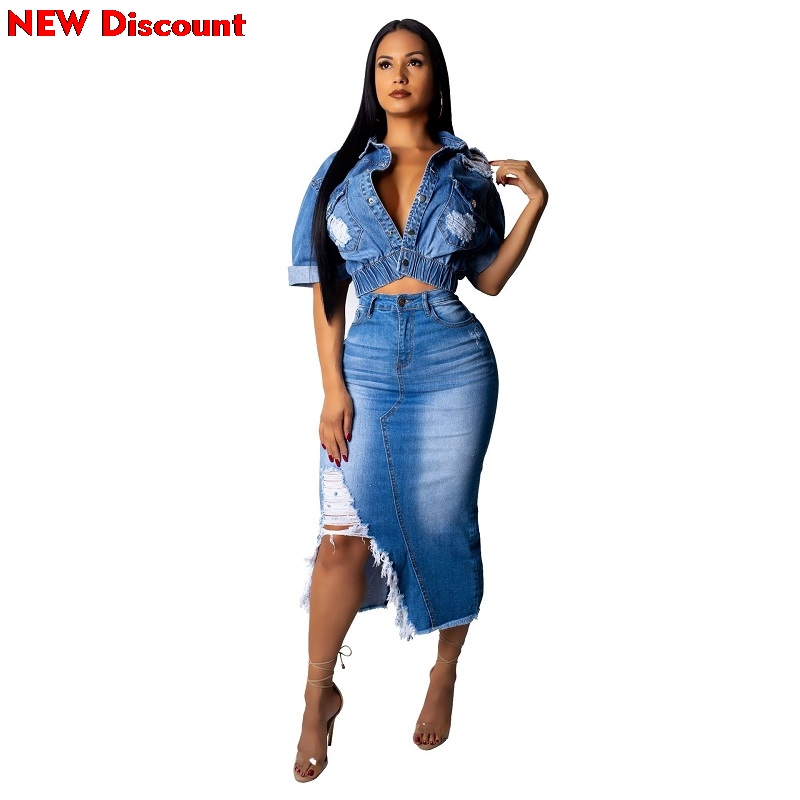 Womens Skirt Set Denim 2 Piece Outfits Sexy Two Piece Set Autumn Outfits Coats Top And Jeans Mini Skirts Suits Matching Sets