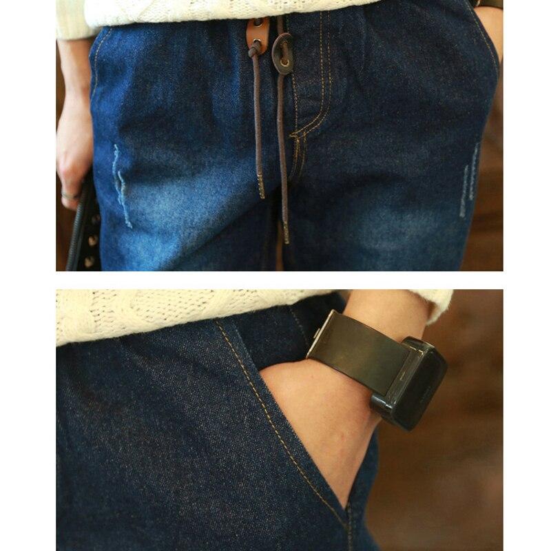 SıCAK Stil erkek Elastik Bel Kot Gençler Denim Manşetli Bacak - Erkek Giyim - Fotoğraf 5