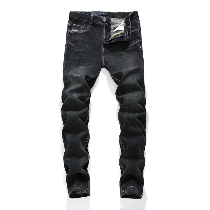 2019 Fashion Streetwear Men's Jeans Elastic Slim Fit Hip Hop Jeans Black Color Punk Pants Skinny Fit Stretch Classical Jeans Men