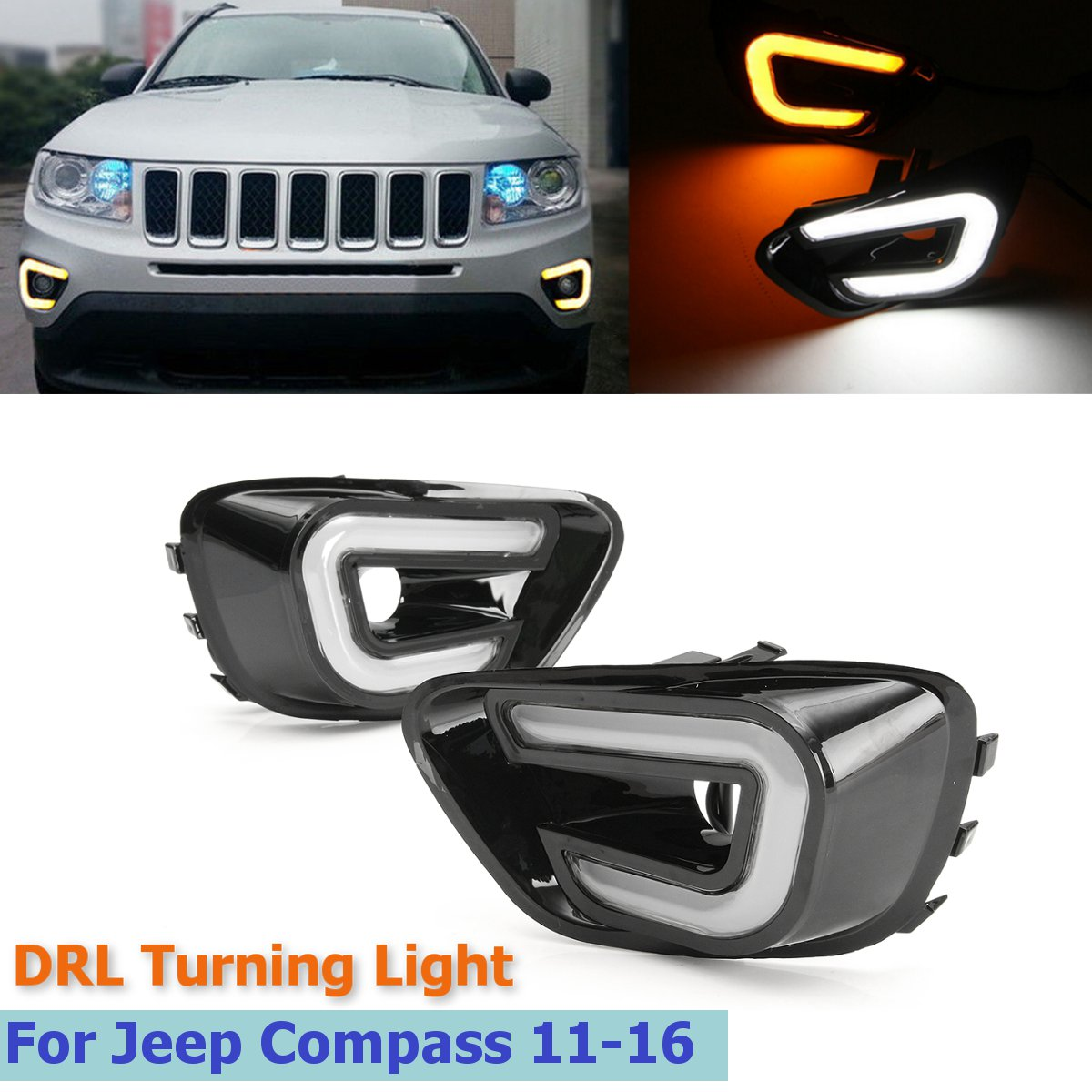 Car LED Daytime DRL Running Light White+Yellow Side Turning Light Fog Lamp for Jeep Compass 2013 2014 2015 DC 12V 1wx5 70 90lm 6000 6700k white 5 led car daytime running light black dc 12v pair