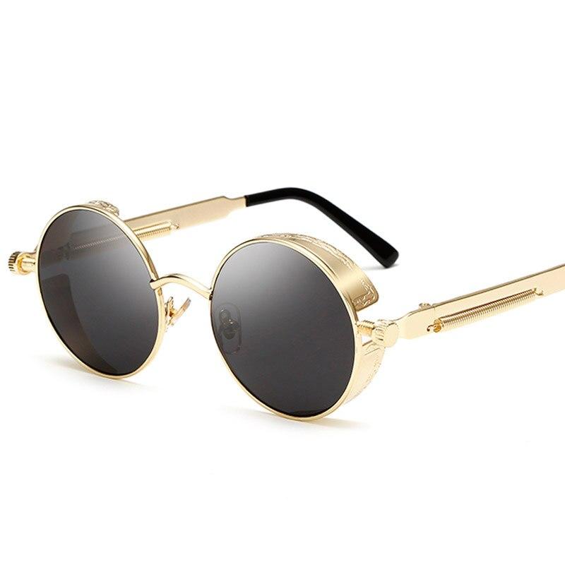 Retro de Metal Steampunk gafas de sol hombres mujeres moda de gafas de diseñador de la marca gafas de sol de alta calidad UV400 gafas
