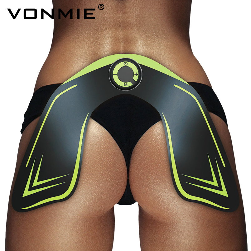 VONMIE Wireless EMS Hip Trainer Electric Muscle Stimulation ABS Slimming Belt Tens Machine USB Rechargeable Remote Control