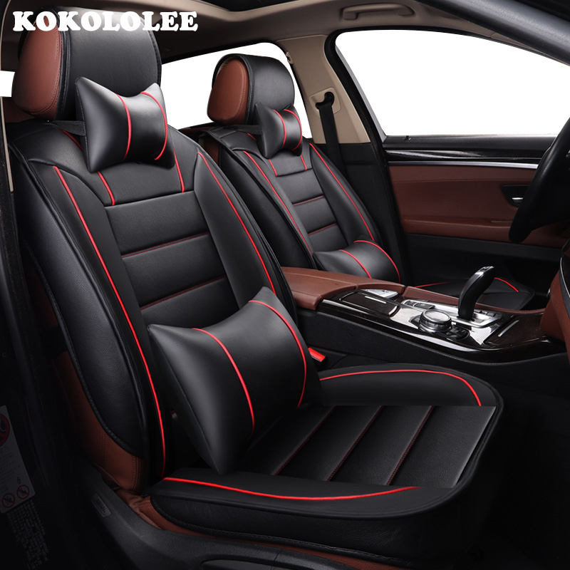 kokololee pu Leather car seat cover set For Dacia All Models Sandero Duster Logan pink auto accessories car cushions car-styling