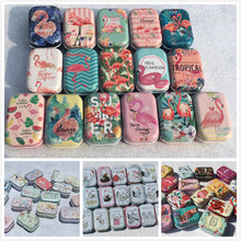 32 Pieces/lot Cartoon Style Flamingo Cock Series Iron Tin Case Pill Box Mini Jewelry Candy Storage House Collectables Display