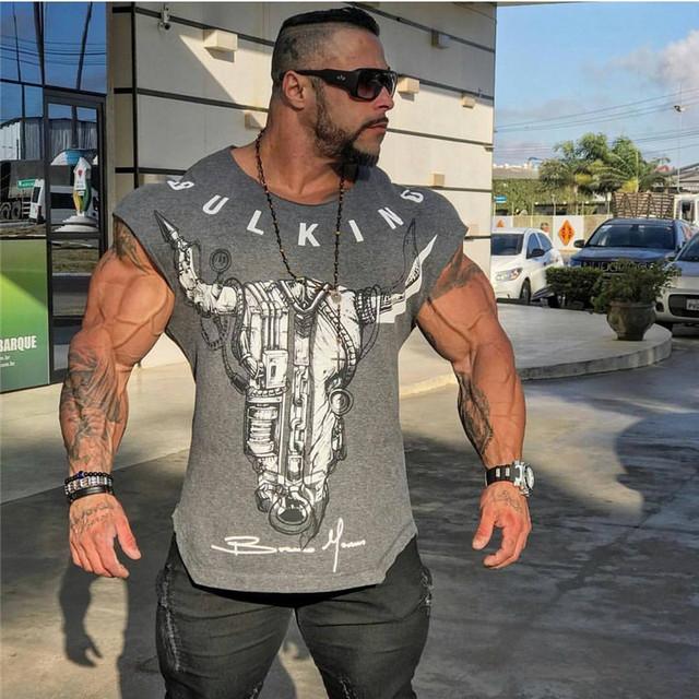 T-shirt muscle fitness männer body top