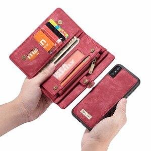 Image 4 - CaseMe lüks deri manyetik 2in1 deri kılıf iPhone12 Pro Max X 8 8 artı 7 7 artı 6 6s artı fermuar çevirme çanta cüzdan kılıf
