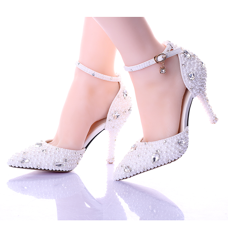 ФОТО 2017 Summer white pearl diamond bride shoes high heels fine with wrist strap shoes female sandals stage sweet wedding shoes