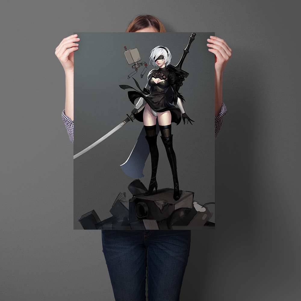 NieR Automata Game Poster Wall Sticker Girl Art Print Silk Fabric Cloth Poster And Print Wall Art Picture Painting Home Decor