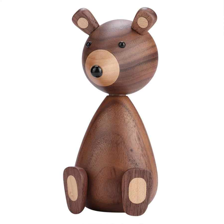 Miniatures Home Decoration Accessories Nordic Hanging Brown Bear Figurines Ornaments Kids Gifts Child Toys Animal Statue