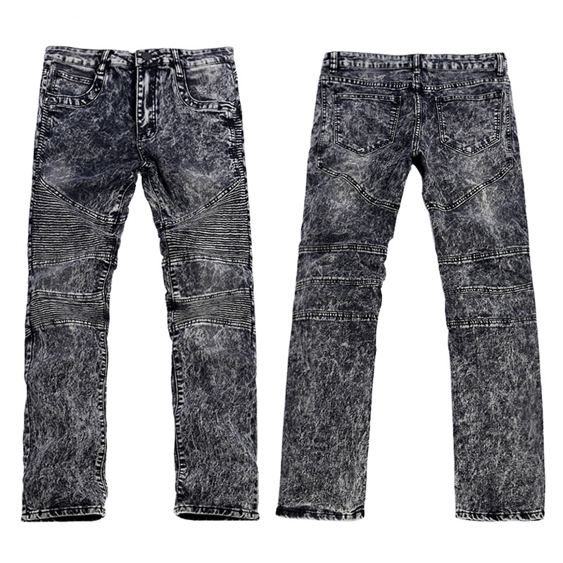 ФОТО Men's Fashion Brand Designer Ripped Cowboy Biker Jeans Men Distressed Moto Gray Denim Joggers Washed Pleated Jean Pants