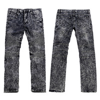 Men's Fashion Brand Designer Ripped Cowboy Biker Jeans Men Distressed Moto Gray Denim Joggers Washed Pleated Jean Pants