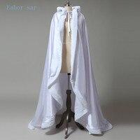 White Wedding Custom Size Coat Winter Wedding Cape Satin Luxury Jacket With Fur Trim Sweep Train
