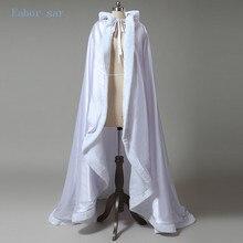 White Wedding custom size coat winter wedding Cape Satin Luxury jacket with fur trim sweep train bridal cape wedding wrap
