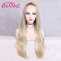 HANNE Ash Blonde Lace Front Wig Synthetic Wigs for Black Women Straight Lace Front Wig Natural Hair Long Wigs for Women Hair