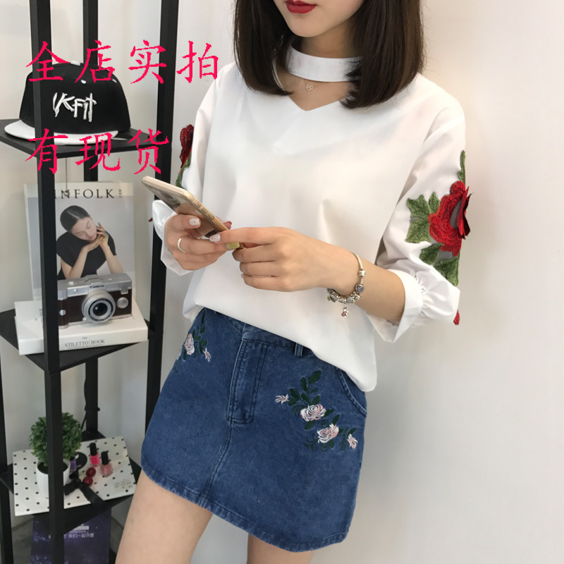 Women's Clothing Summer Women Shirts Solid Loose Embroidery V-neck Hanging Head Collar Roses Blouse Shirt White Blue 8901