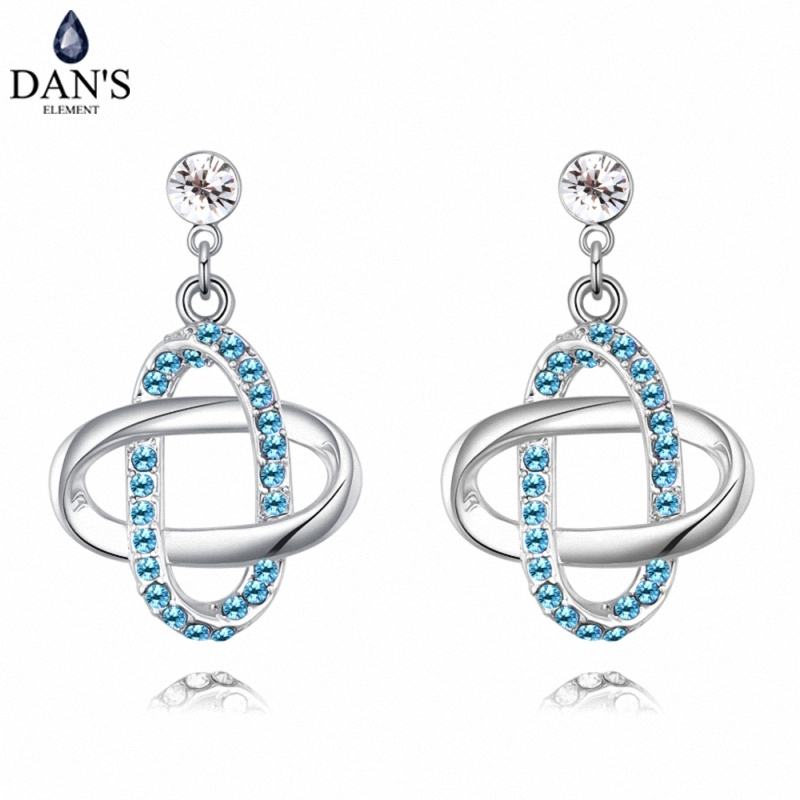 DANS 5 Colors Real Austrian crystals Stud earrings for women Earrings s New Sale Hot Round 127958