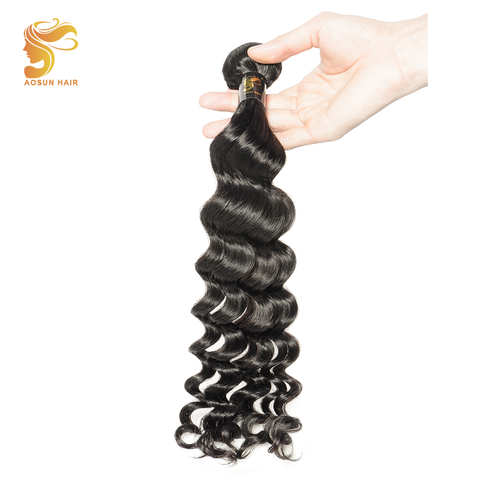 AOSUN Hair Bundles Peruvian Natural Wave Remy Hair Weave 100% Human Hair 8-28 Inch True Length Natural Black Color Free Shipping ...