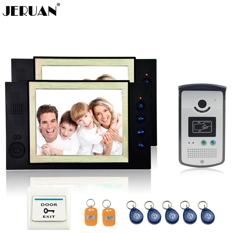 JERUAN 8 inch video door phone doorbell intercom system video recording photo taking access control system 2 house 1 outdoor jeruan home security system 2 outdoor 1 indoor with recording photo taking 8 inch video door phone doorbell intercom system