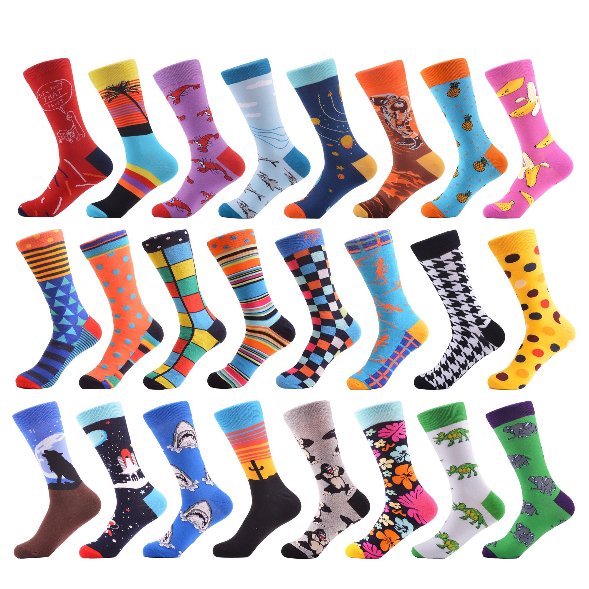 SANZETTI 1 Pair 2019 Newest Men's Colorful Comfortable Causal Dress Skateboard   Socks   Shark Geometry Pattern Funny Wedding   Socks