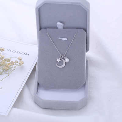 Fashion Charm Women Moon Star Necklaces Jewelry 925 Sterling Silver Choker Necklaces Pendants For Women Girls Gifts Colar