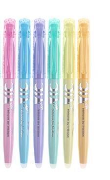 Pilot Highlighter- 6 Color/Pastel Soft Color FriXion Erasable Marker Set Doodle Painting Design Supplies SW-FL