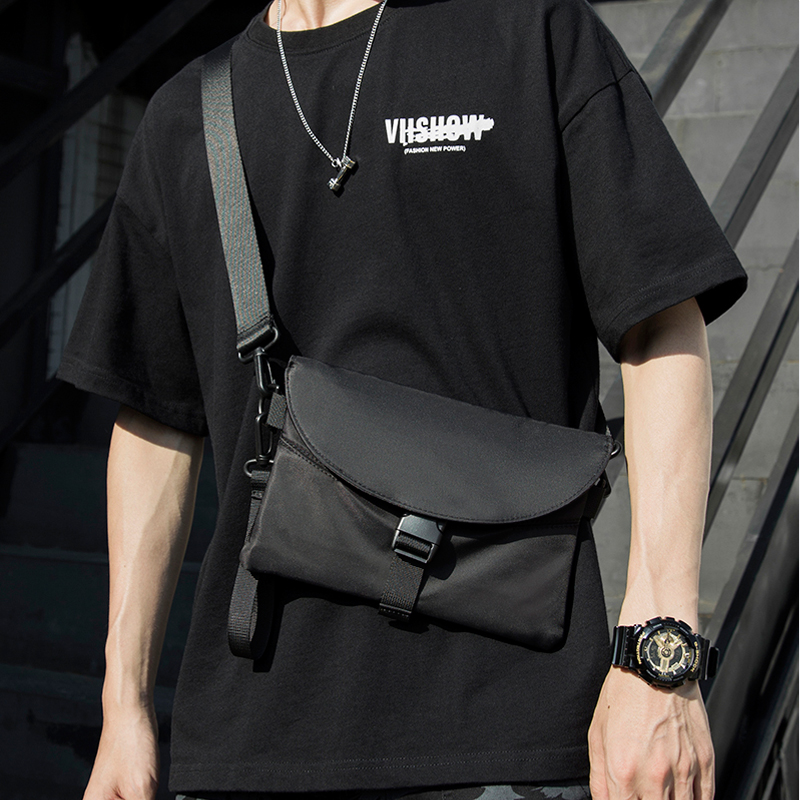 Fashion Trend Men Messenger Bag Pack Nylon Waterproof Casual Men's Shoulder Bag Black Functional Zipper Bag Crossbody For Male