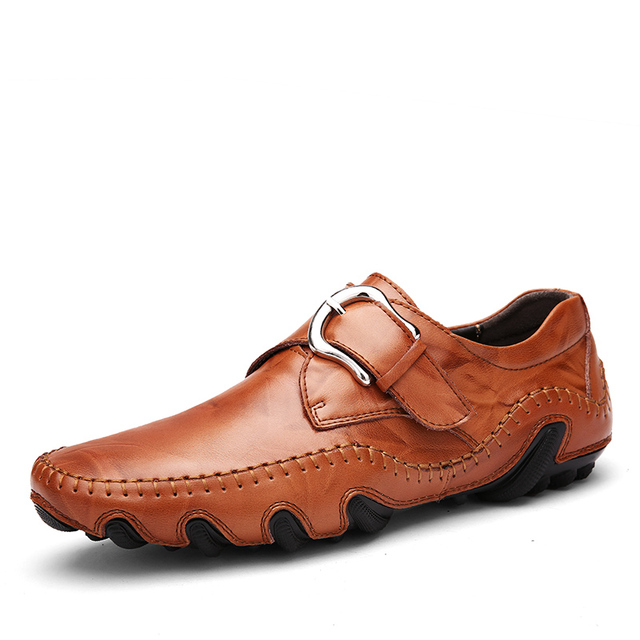 Times New Roman Fashion Autumn Style Soft Moccasins Men Loafers High Quality Genuine Leather Shoes Men Flats