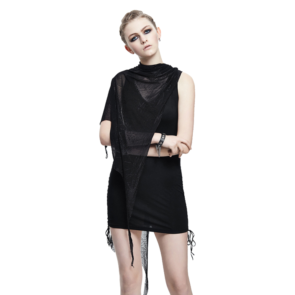 Punk Sleevelss Casual Mini Dress with Cape Spider Web Lace T Shirt Multi way Black V
