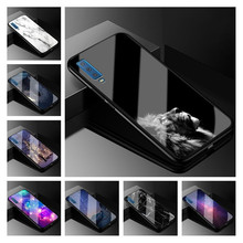 Hot Case For Samsung Galaxy A7 2018 Luxury Glass Cool Print Hard Back Cover A750F TPU Frame 6.0