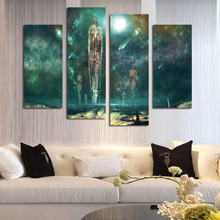 modern hd 4 piece wall art home decoration oil painting on canvas abstract style floating soul canvas art painting no frame - Float Frame