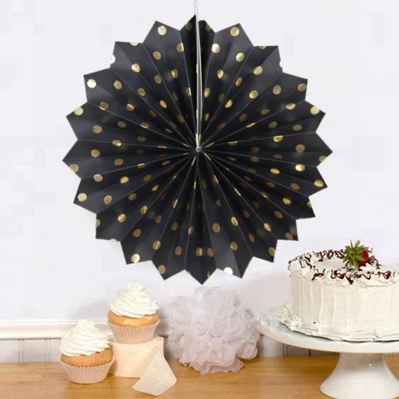 1x Black Polka Dot Paper Fan Decoration Accodion Fans Crinkle Fans Rosettes Pinwheel Backdrop for Wedding Shower Birthday Party