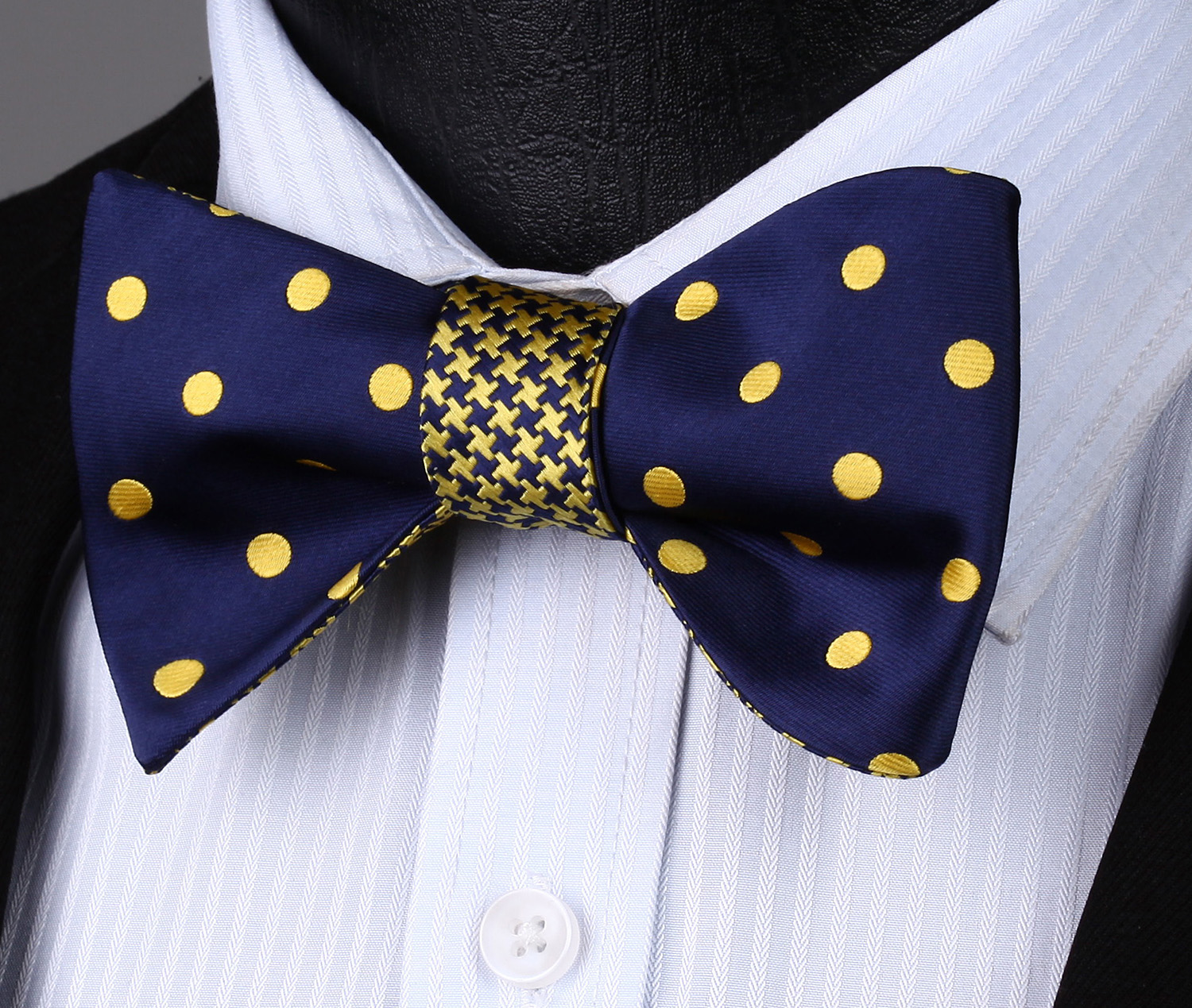 BE04Y Blue Yellow Polka Dot Double Side Bowtie Men Cotton Party Classic Wedding Self Bow Tie